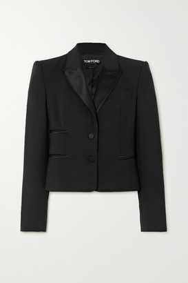 Tom Ford Silk Satin-trimmed Wool-blend Blazer - Black