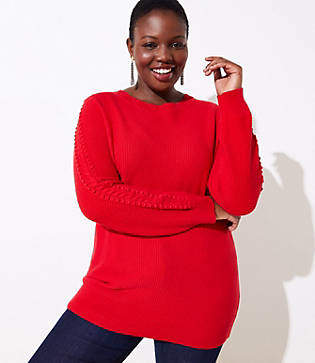 LOFT Plus Scalloped Cable Sleeve Sweater