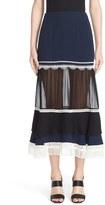 Jonathan Simkhai Women's Fringe Silk Trumpet Skirt