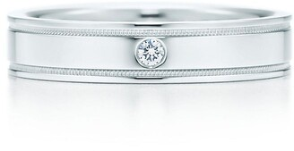 Tiffany & Co. Essential Band double milgrain ring in platinum with a diamond