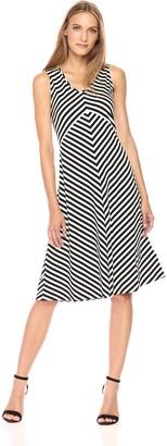 Jones New York Women's Island Stripe Slvless 'v'nk Dress