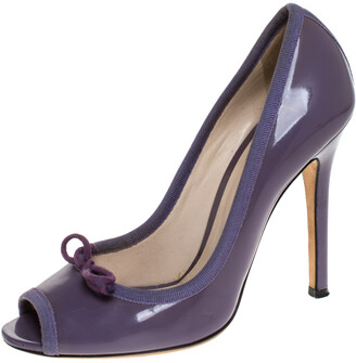 Dolce & Gabbana Purple Patent Leather Bow Peep Toe Pumps Size 37