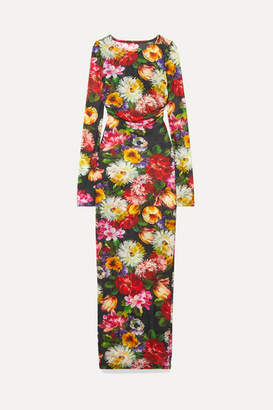 Dolce & Gabbana Floral-print Stretch-tulle Maxi Dress - Pink
