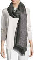 Brunello Cucinelli Metallic Rectangle Scarf, Gray