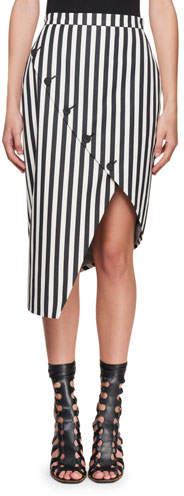 Altuzarra Asymmetric Button-Slit Striped Silk Skirt