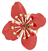 Accessorize Red Flower Statement Ring
