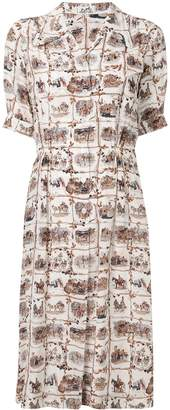 Hermes Pre-Owned silk horses printed shirt dress