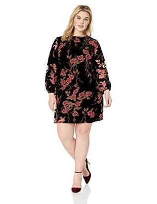 Jessica Howard Plus Size Womens Velvet Burnout Balloon Sleeve A-Line Dress