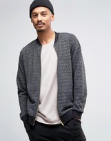 Asos Textured Jersey Bomber Jacket With Gold Zips