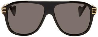Gucci Black Vintage 70s Pilot Sunglasses