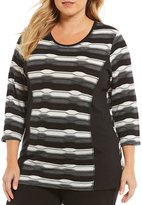 Allison Daley Plus 3/4 Sleeve Texture Stripe Pucker Knit Top