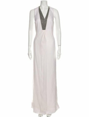 Brunello Cucinelli Silk Long Dress White