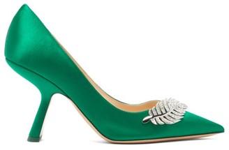 Nicholas Kirkwood Monstera Crystal-leaf Satin Pumps - Womens - Dark Green