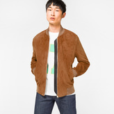 Paul Smith Men's Slim-Fit Tan Suede Bomber Jacket With 'Artist Stripe' Trim Lining