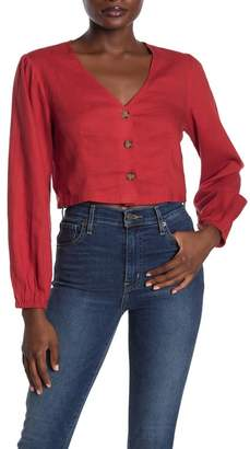 Lush Cropped Button Front Blouse