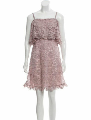 Valentino 2018 Lace Cold-Shoulder Mini Dress w/ Tags Mauve
