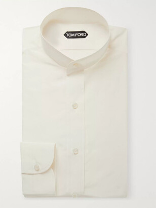 Tom Ford Cream Slim-Fit Grandad-Collar Cotton and Silk-Blend Shirt - Men