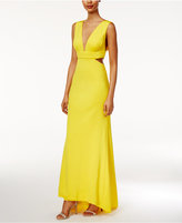 Adrianna Papell Petite V-Neck High-Low Gown