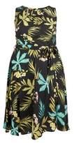Dorothy Perkins Womens **Billie & Blossom Curve Black Palm Print Dress, Black