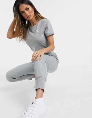 Converse slim fit grey logo t-shirt