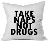 Oh! Oh, Susannah Take Naps Not Drugs 18x18 Inch Throw Pillow Cover (1 18 X 18 inch, Black)