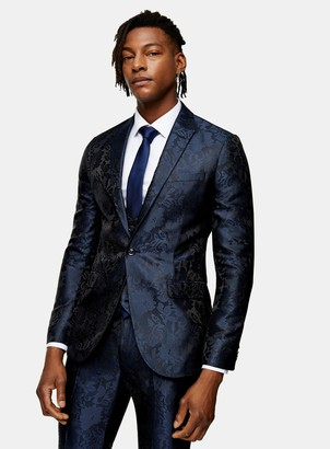 Topman Navy Jacquard Skinny Fit Single Breasted Suit Blazer With Peak Lapels