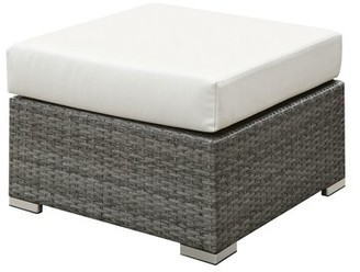 "Rosecliff Heights Hinkle Outdoor Wicker Ottoman with Cushion Size: 18"" H x 25.13"" W x 25.13"" D"
