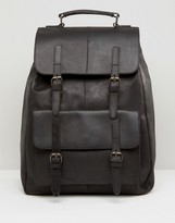Asos Leather Backpack In Black With Front Pockets