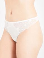 Simone Perele Boheme crepe and stretch-lace thong
