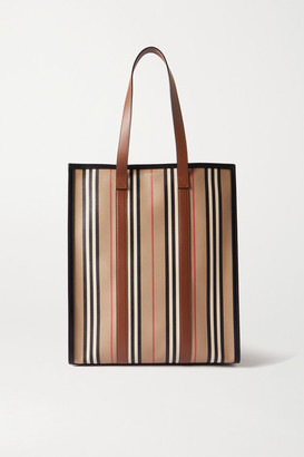 Burberry Leather-trimmed Striped Coated-canvas Tote - Brown