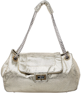 Chanel Gold Perforated Leather Drill Accordion Flap Bag