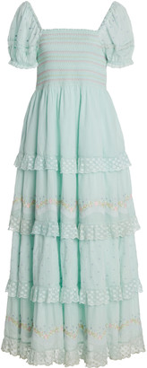 LoveShackFancy Capella Tiered Lace-Trimmed Smocked Cotton Maxi Dress