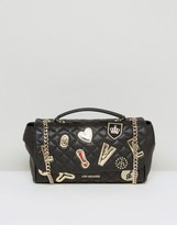 Love Moschino Quilted Shoulder Bag With Badges