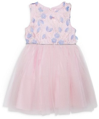 Pippa & Julie Little Girl's Floral Embroidery Tulle Fit--Flare Dress