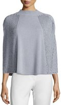 Halston Mock-Neck Sequined Knit Poncho Sweater