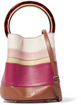 Marni Pannier Small Striped Leather Bucket Bag - Plum