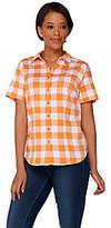 Denim & Co. Gingham Button Front Short Sleeve Shirt