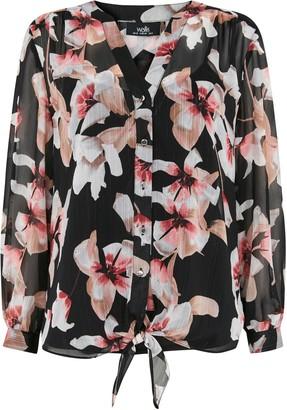 Wallis Black Floral Lurex Tie Hem Top