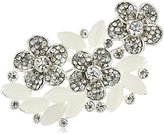 Napier Boxed Silver-Tone and Crystal Flower Cluster Brooches and Pin