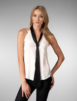 Silk Tie Racer Back Blouse in Ivory/Black