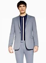 Topman Premium Blue Textured Skinny Blazer