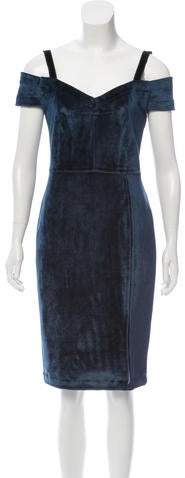 Yigal Azrouel Velvet Cold-Shoulder Dress w/ Tags