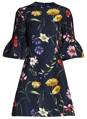 Oscar de la Renta Floral Short Bell Sleeve Cocktail Dress