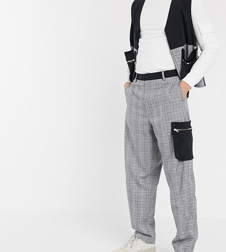 Noak wide leg pants in check with contrast pockets
