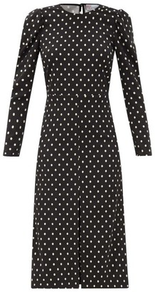 RED Valentino Open-back Polka-dot Crepe Dress - Black White