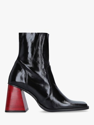 Kurt Geiger Selma Leather Square Heel Ankle Boots, Black