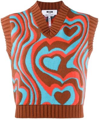 MSGM Intarsia Knitted Top