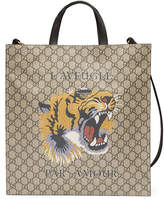 Gucci Tiger Face Soft GG Supreme Tote, Beige
