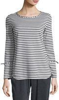 Max Studio Long-Sleeve Stripe-Print Top, Natural/Charcoal