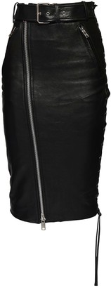 Balenciaga Leather & Jersey Zip Skirt W/ Belt